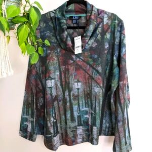 Forest Print Cowl Neck Top